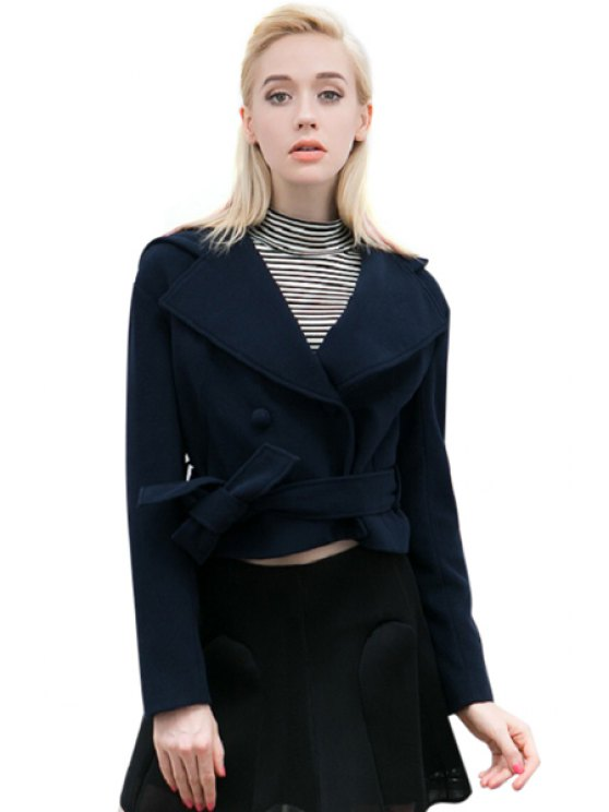 shop Long Sleeve Solid Color Belt Jacket - PURPLISH BLUE M