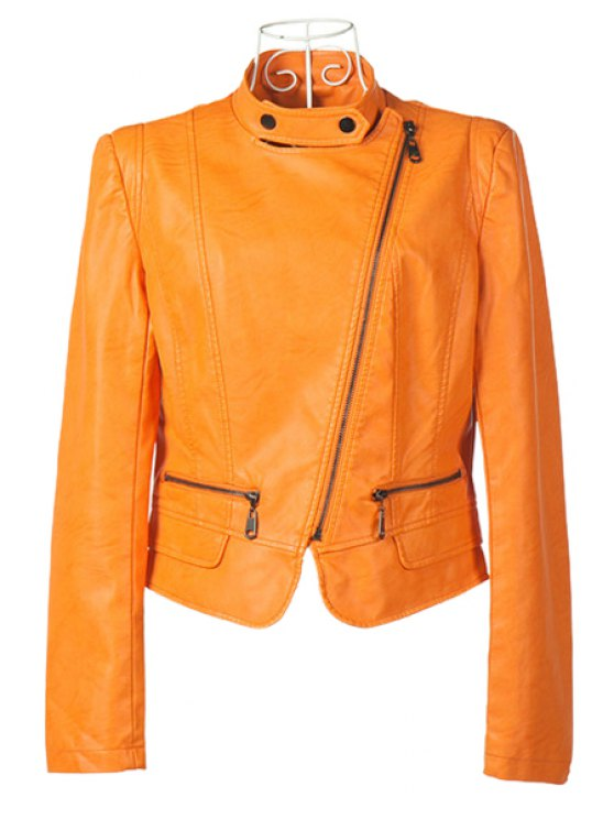 sale Orange Stand Collar PU Leather Jacket - ORANGE S