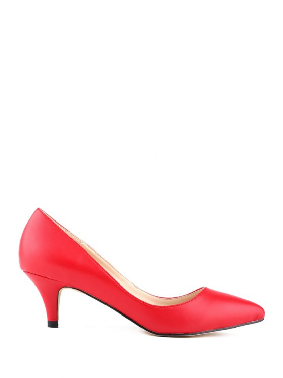 women's Kitten Heel Pointed Toe Solid Color Pumps - RED 35