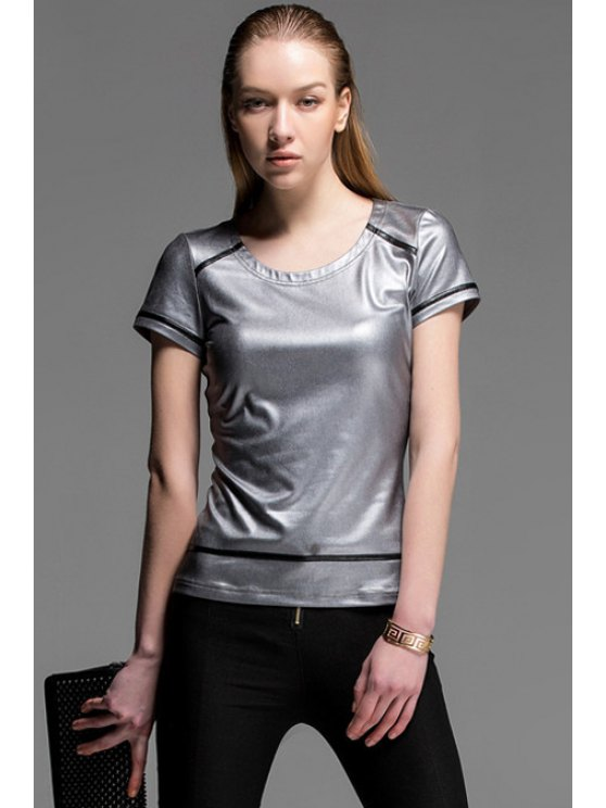 online Color Block Short Sleeve T-Shirt - SILVER S