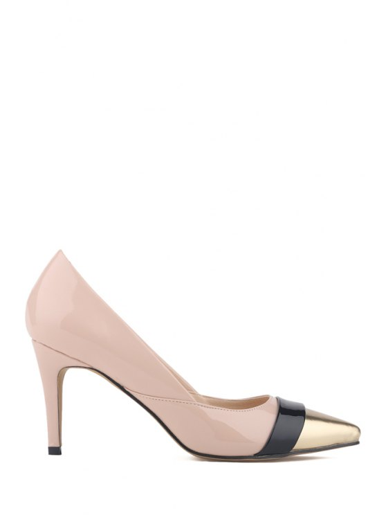 unique Pointed Toe Patent Leather Color Block Pumps - APRICOT 34