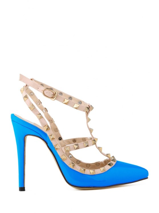 buy Hollow Out Pointed Toe Rivets Pumps - AZURE 40