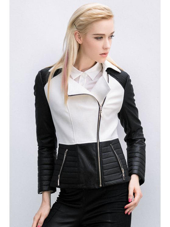 trendy Lapel Color Block PU Splicing Jacket - WHITE AND BLACK S