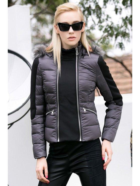 lady Color Block Zipper Hooded Coat - COLORMIX S