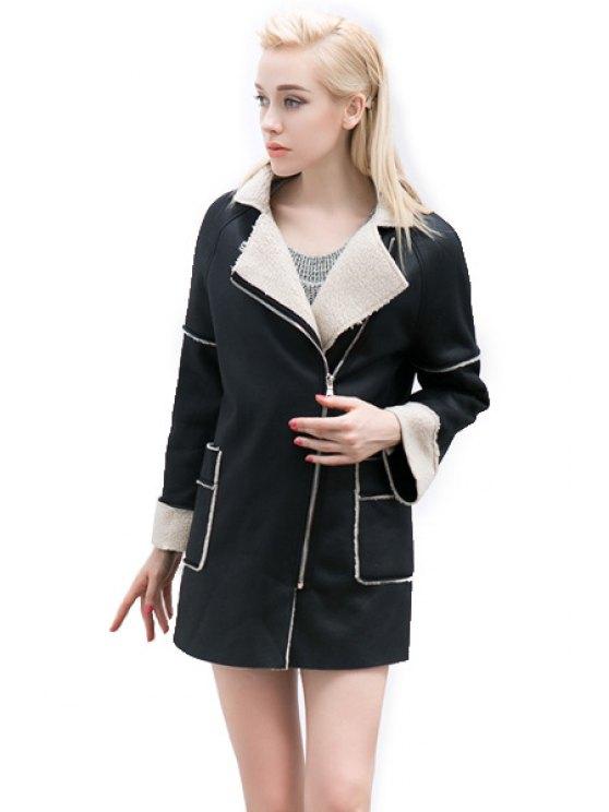 shop PU Leather Lamb Wool Splicing Coat - BLACK S