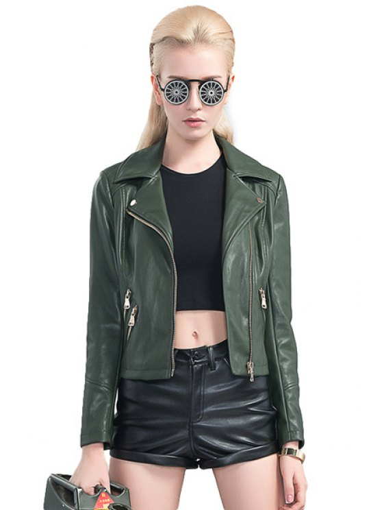 affordable Solid Color Zipper PU Leather Jacket - ARMY GREEN S