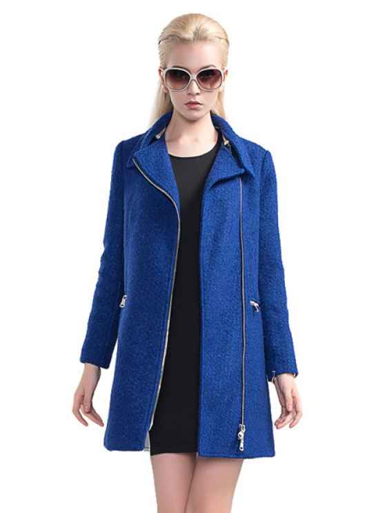 chic Blue Worsted Turn-Down Collar Coat - BLUE S