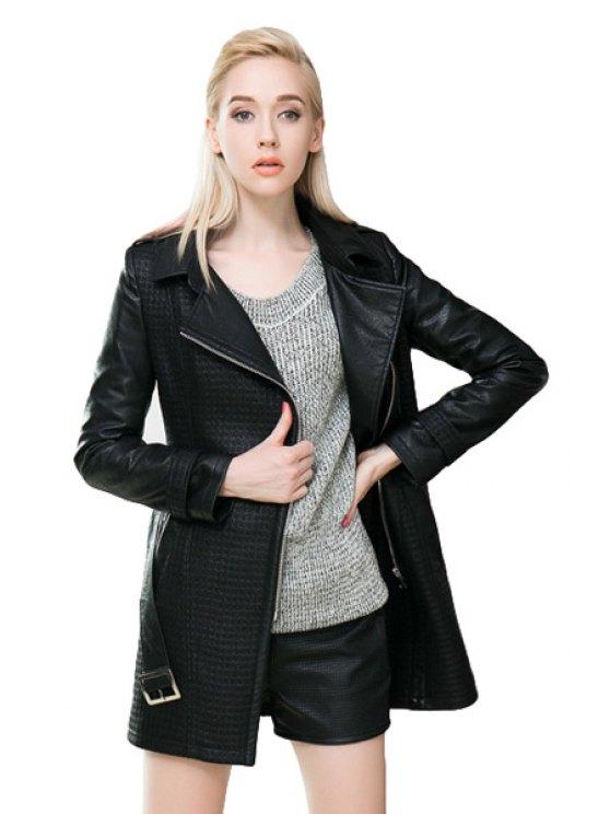 outfits Black PU Leather Splicing Belt Coat - BLACK S