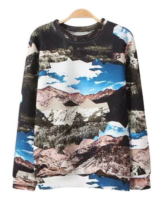 shops Scenery Print Long Sleeve Sweatshirt - COLORMIX S