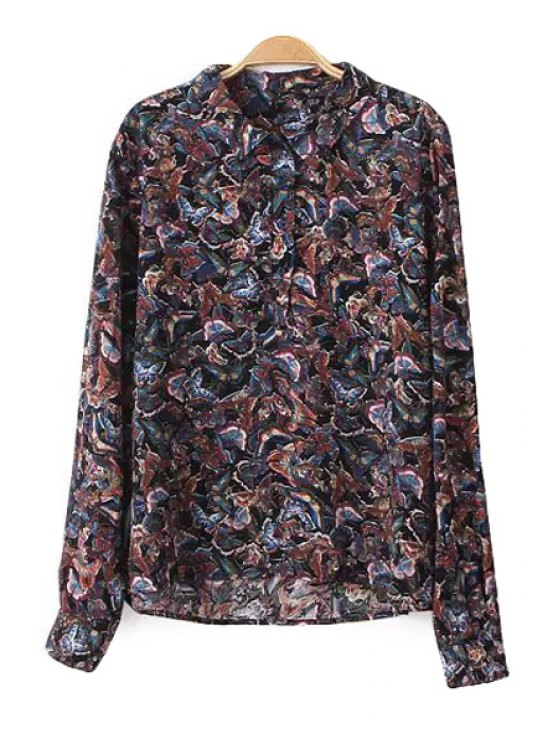 fancy Full Butterfly Print Long Sleeve Shirt - COLORMIX S