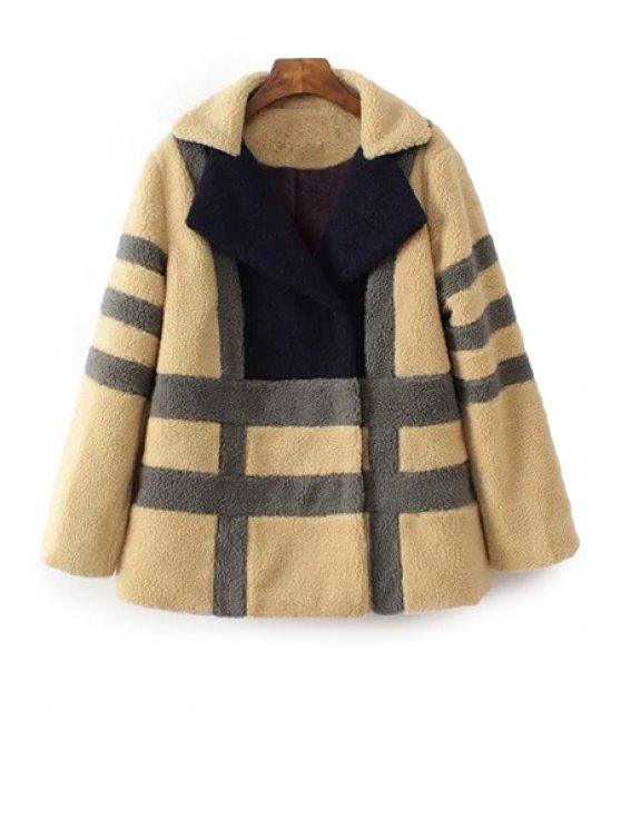 fancy Striped Color Block Long Sleeve Coat - BLACK XS