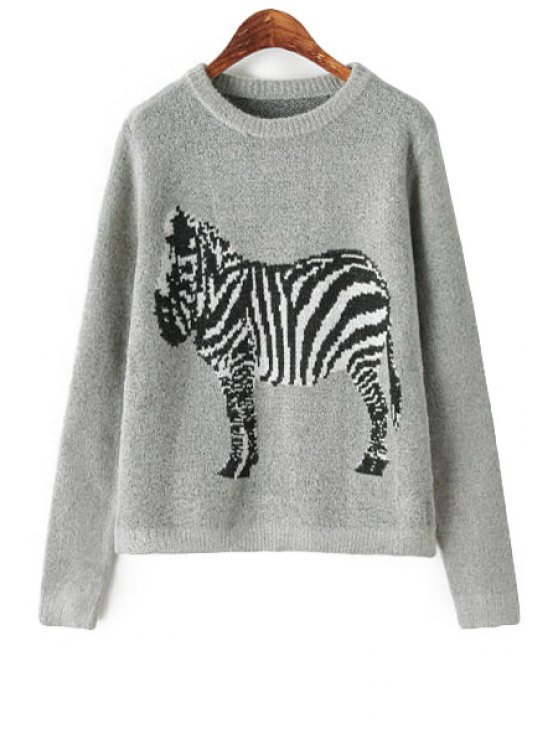 buy Zebra Pattern Long Sleeve Sweater - GRAY ONE SIZE(FIT SIZE XS TO M)
