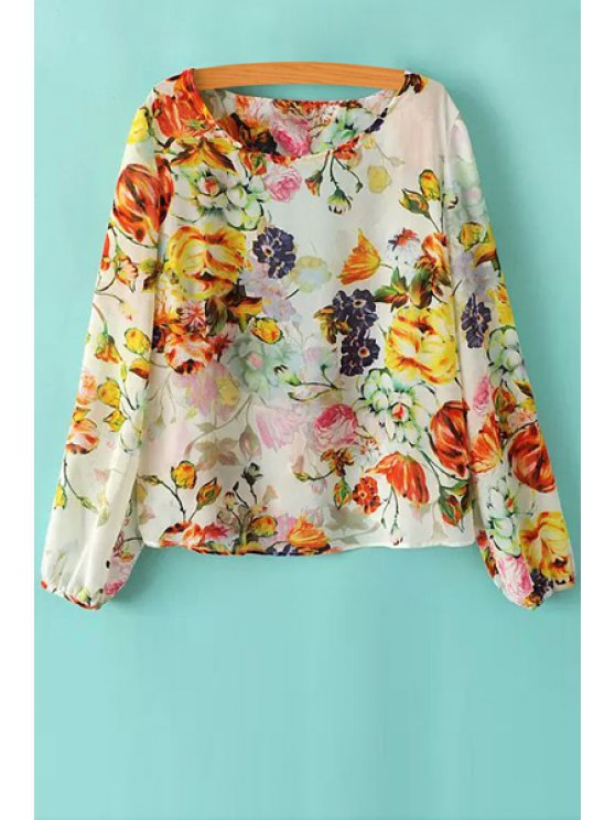 outfits Floral Long Sleeve Backless Blouse - COLORMIX S