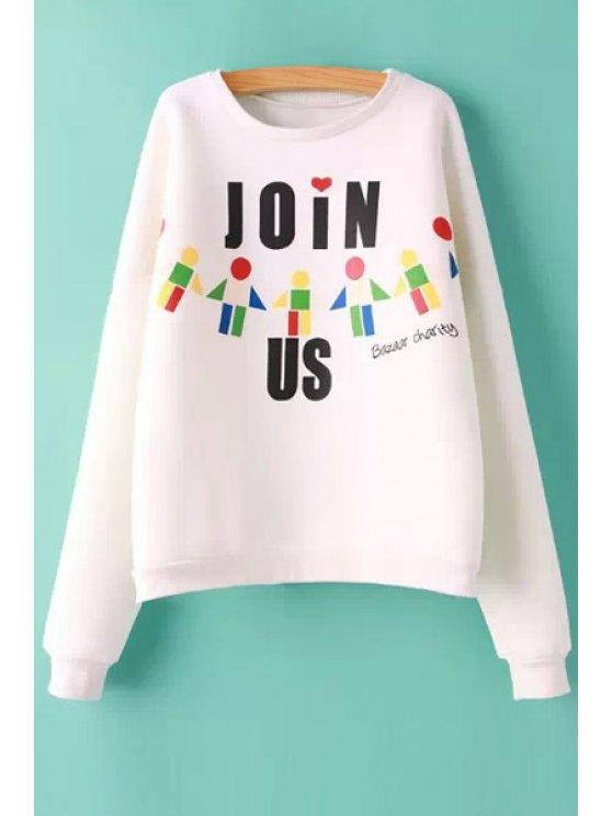 fashion Letter and Geometric Print Sweatshirt - WHITE S