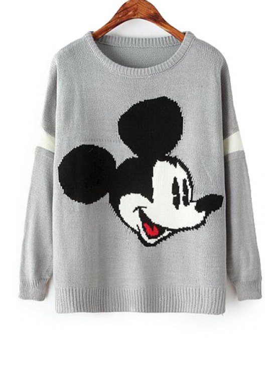 ladies Long Sleeve Character Pattern Sweater - GRAY ONE SIZE(FIT SIZE XS TO M)