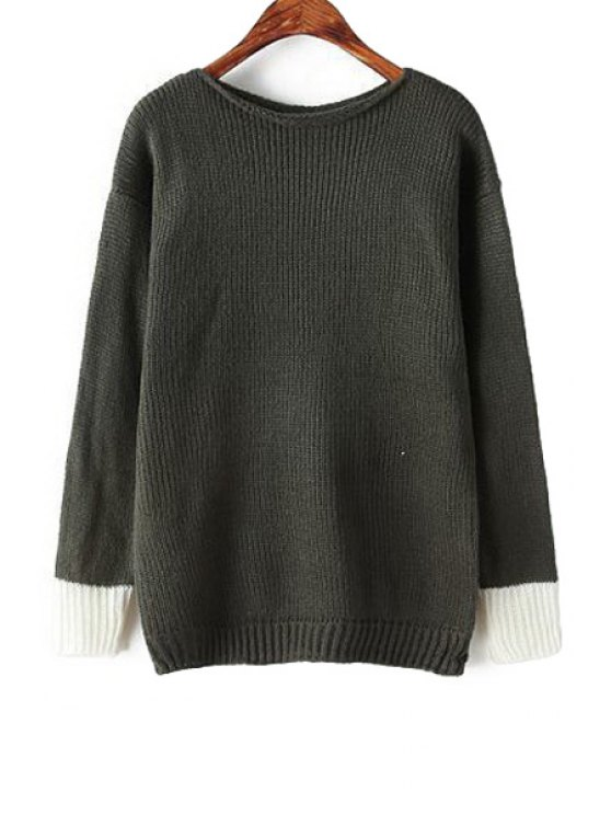 online Long Sleeves Color Block Sweater - GREEN ONE SIZE(FIT SIZE XS TO M)