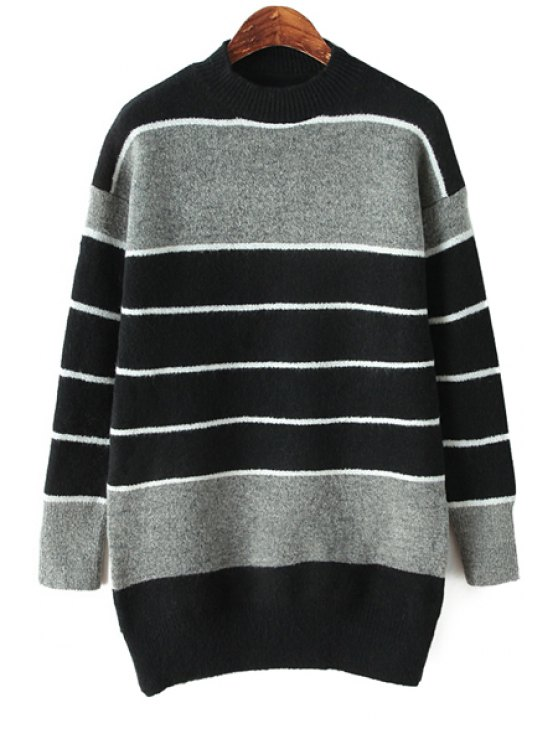 womens Striped Color Block Sweater - BLACK ONE SIZE(FIT SIZE XS TO M)