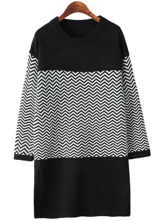 women's Wavy Striped Splicing Sweater - BLACK ONE SIZE(FIT SIZE XS TO M)