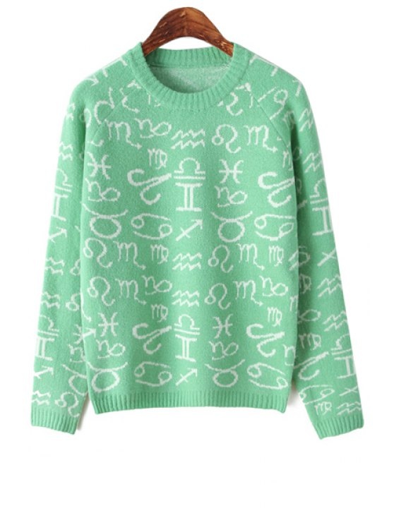 online Symbol Pattern Long Sleeve Sweater - GREEN ONE SIZE(FIT SIZE XS TO M)