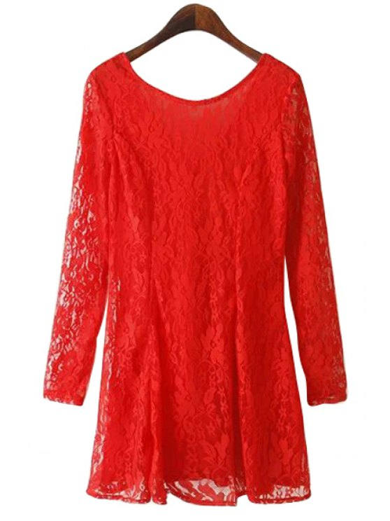 outfit Solid Color Lace Long Sleeve Dress - RED S