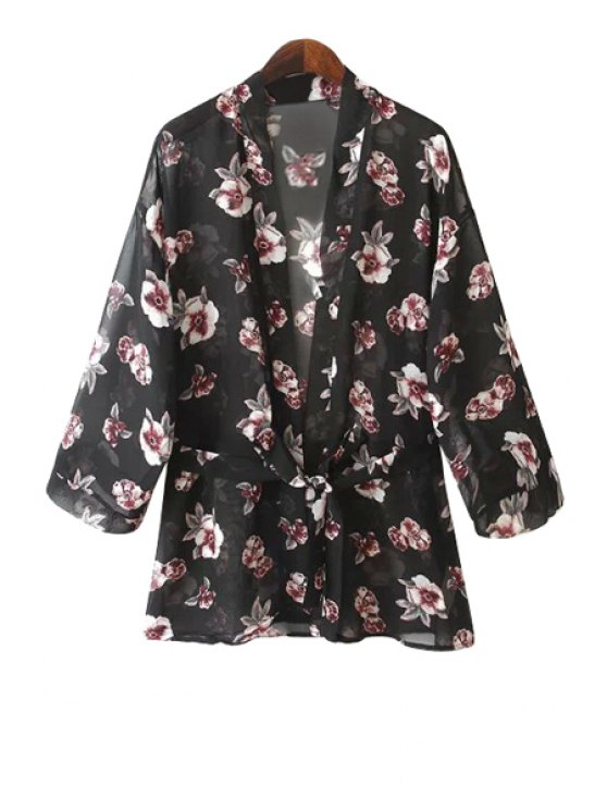 best Full Floral Print Long Sleeve Coat - BLACK S