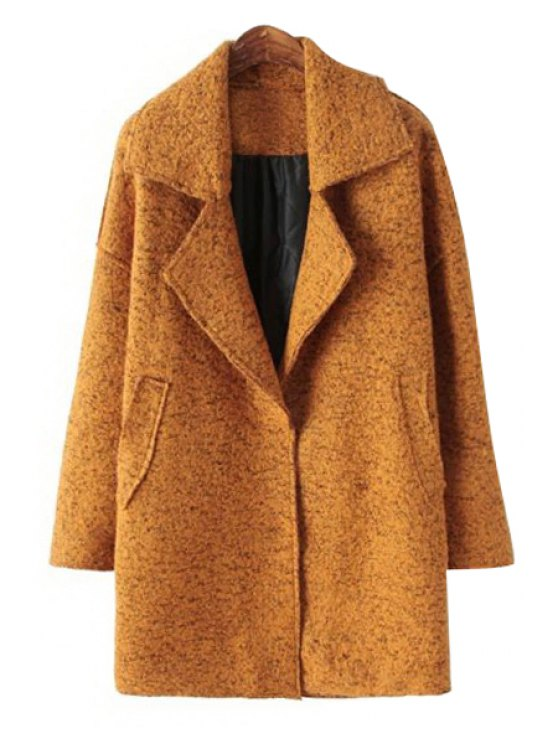 hot Solid Color Worsted Lapel Coat - YELLOW ONE SIZE(FIT SIZE XS TO M)