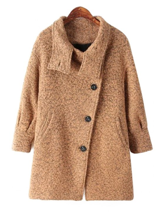 fashion Color Mixed Worsted Long Sleeve Coat - KHAKI ONE SIZE(FIT SIZE XS TO M)