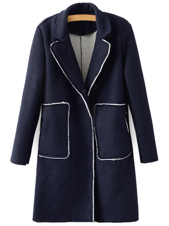 buy Solid Color Lapel Double Pockets Coat - PURPLISH BLUE ONE SIZE(FIT SIZE XS TO M)