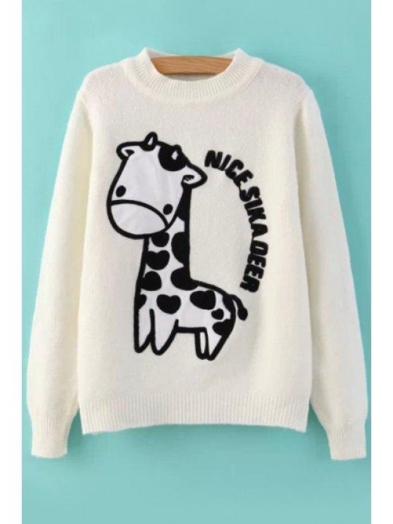 lady Cartoon Giraffe Pattern Sweater - WHITE ONE SIZE(FIT SIZE XS TO M)