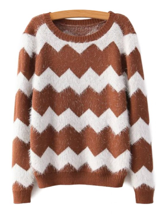 trendy Wavy Pattern Long Sleeve Sweater - COFFEE ONE SIZE(FIT SIZE XS TO M)