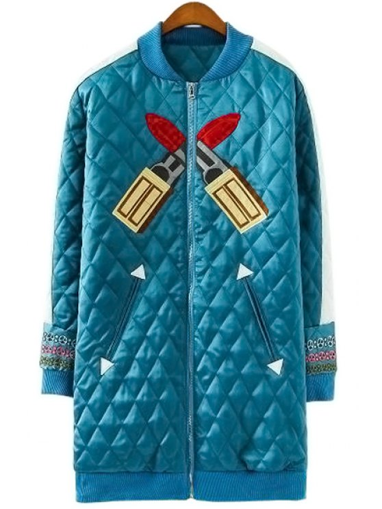 outfit Stand Collar Embroidery Coat - BLUE S