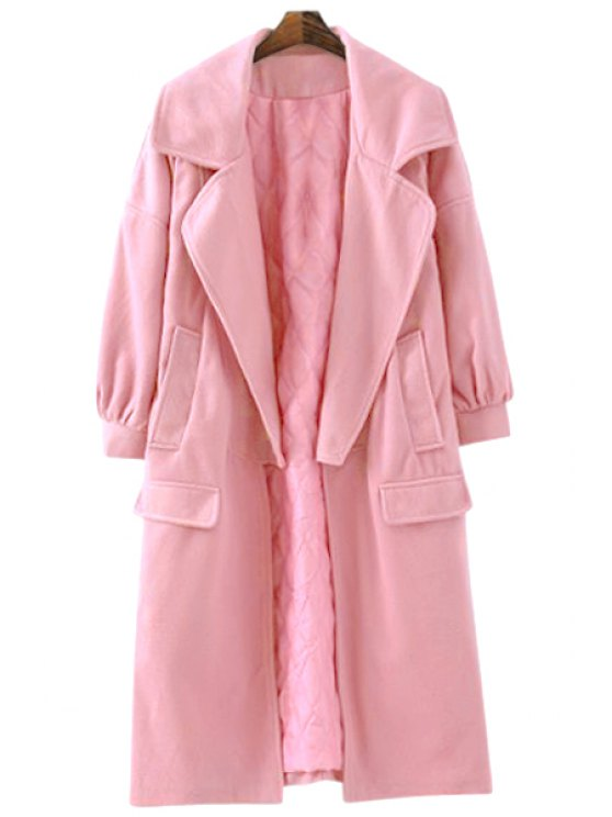 fashion Solid Color Worsted Lapel Maxi Coat - PINK S