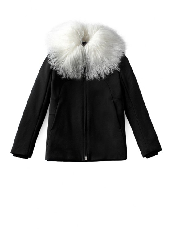 buy Faux Fur Collar Black Coat - BLACK S