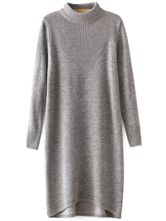 online Solid Color Turtle Neck Sweater Dress - GRAY ONE SIZE(FIT SIZE XS TO M)