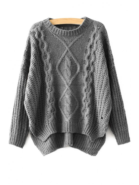women's Cable-Knit High-Low Hem Sweater - GRAY ONE SIZE(FIT SIZE XS TO M)