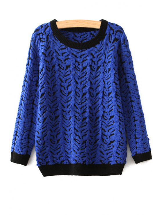 online Color Block Scoop Neck Sweater - BLUE ONE SIZE(FIT SIZE XS TO M)
