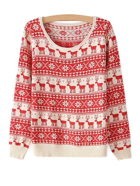 outfit Deer Pattern Long Sleeve Sweater - RED ONE SIZE(FIT SIZE XS TO M)
