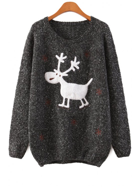 unique Cartoon Deer Pattern Sweater - BLACK ONE SIZE(FIT SIZE XS TO M)