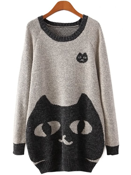 women Long Sleeve Kitten Pattern Sweater - LIGHT GRAY ONE SIZE(FIT SIZE XS TO M)