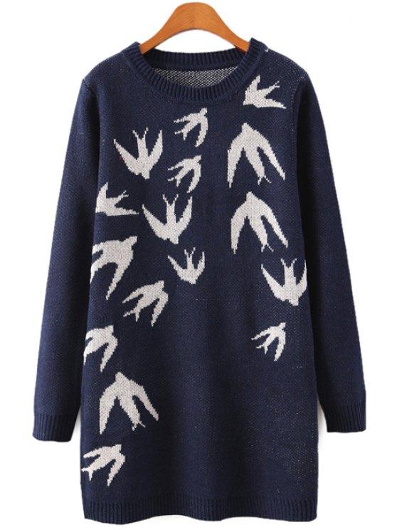 women's Round Collar Swallow Pattern Sweater - PURPLISH BLUE ONE SIZE(FIT SIZE XS TO M)
