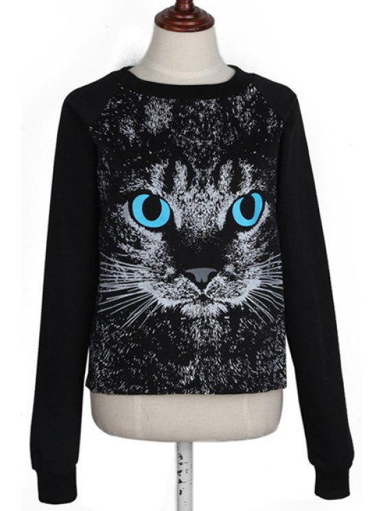 buy Long Sleeve Cat Print Sweatshirt - BLACK ONE SIZE(FIT SIZE XS TO M)