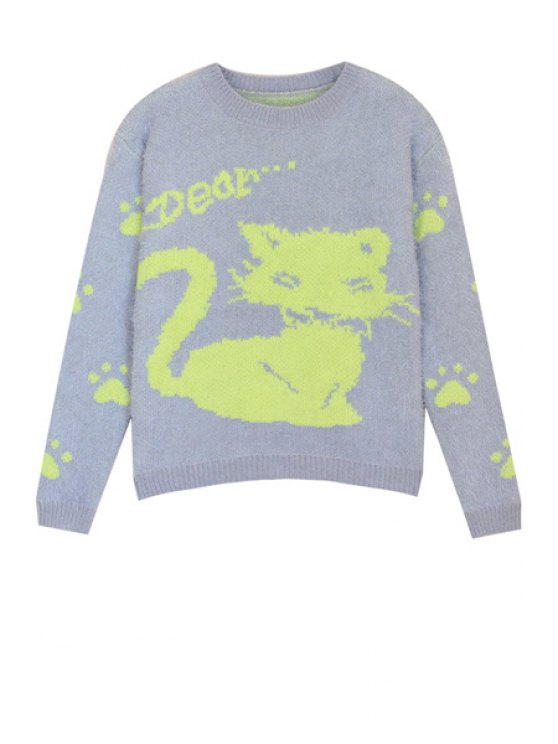 shop Kitten Pattern Mohair Sweater - BLUE GRAY ONE SIZE(FIT SIZE XS TO M)