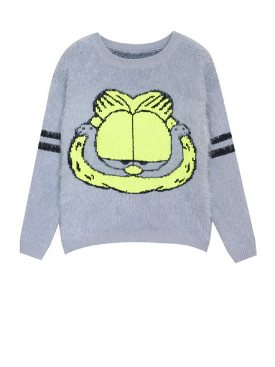 trendy Cartoon Cat Pattern Mohair Sweater - BLUE GRAY ONE SIZE(FIT SIZE XS TO M)