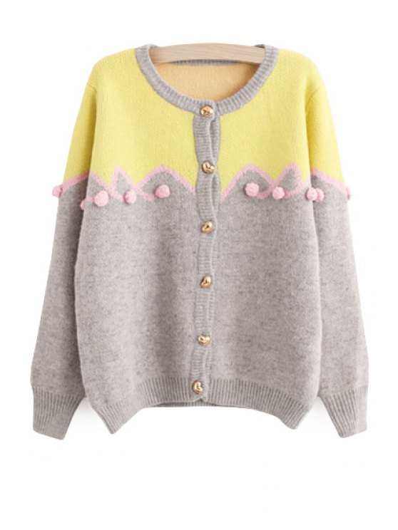 fashion Color Block Scoop Collar Cardigan - YELLOW ONE SIZE(FIT SIZE XS TO M)
