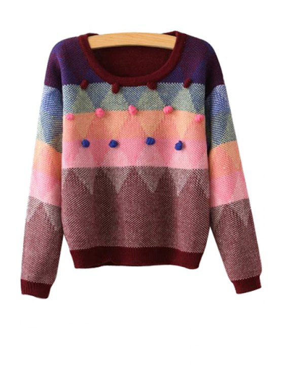 new Colorful Argyle Pattern Long Sleeve Sweater - RED ONE SIZE(FIT SIZE XS TO M)