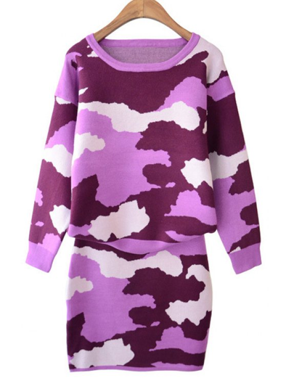 shops Camouflage Pattern Sweater and Skirt Suit - PINK ONE SIZE(FIT SIZE XS TO M)