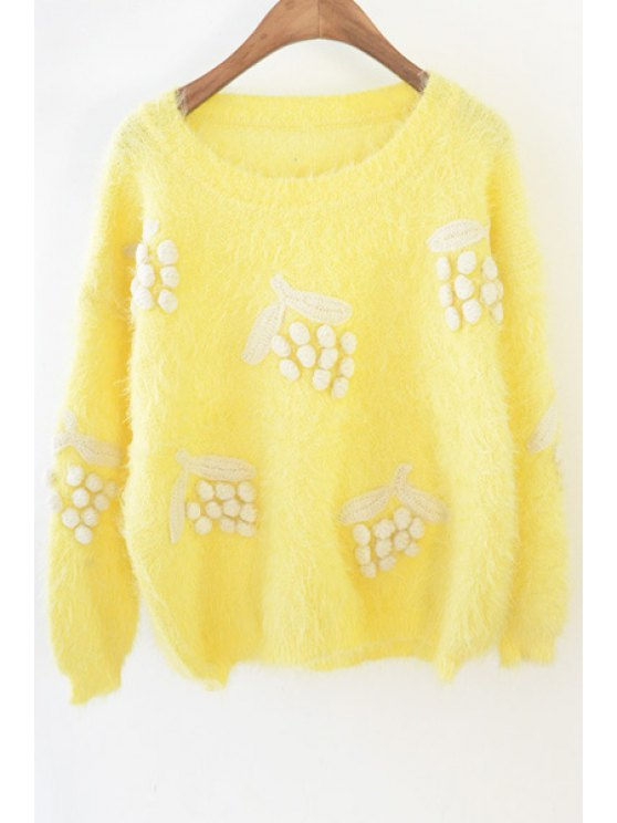 buy Grape Pattern Mohair Sweater - YELLOW ONE SIZE(FIT SIZE XS TO M)
