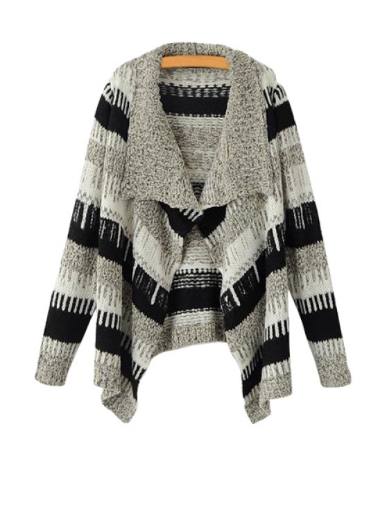 outfits Striped Turn-Down Collar Cardigan - STRIPE ONE SIZE(FIT SIZE XS TO M)