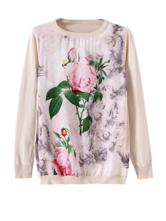 best Flower Print Splicing Knitwear - WARM WHITE LIGHT S