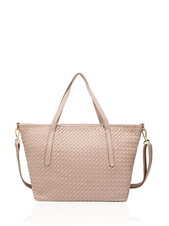 outfits Weaving PU Leather Zipper Shoulder Bag - APRICOT